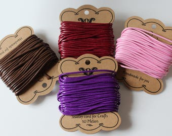 1 m cord waxed Polyester 2 mm (pink, Brown, purple or Burgundy)