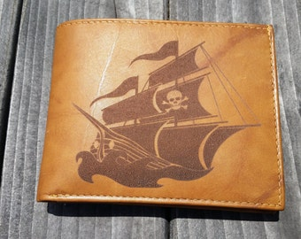 Laser Engraved Leather Wallet // Pirate Ship // Pirate // Customizable