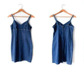 90s denim jumper dress | XS/S