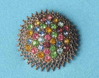 Pin Brooch Pastel Rhinestones Vintage c.1930's Czechoslovakian Round Lacy Pewter Toned Setting