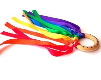 Hand Kite Junior - Baby Stocking Stuffer - Montessori Personalized Toy - Wooden Toys - Waldorf Wind Wand