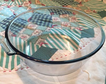 Vintage Blue Glass Pyrex Sauce Pan Flameware Made in The USA #4173