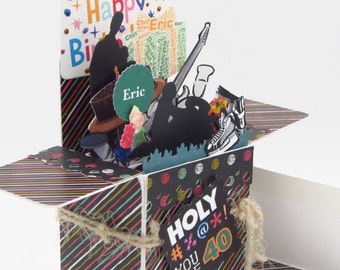 Custom Card In A Box - Personalized Handmade - Custom Birthday Greeting Card - Explosion Box Card - Pop Up Card - FREE SHIPPING