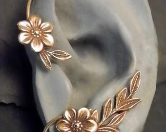 Flower and Leaf  Ear Wrap - GOLDEN GARDEN - Brass Ear Cuff Wrap