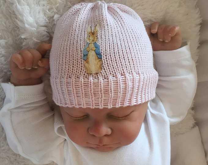 pink cotton hand made knitted peter rabbit inspired beanie hat baby shower  new baby gift photo prop made in the uk