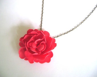 Clay Peony Necklace. Coral Pink Peony Necklace