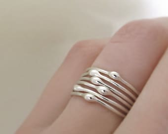 Sterling Silver Stacking Ring Set of Six, Rain Droplet Rings