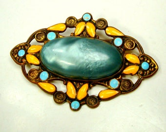 1930s Yellow & Baby Blue Enamel Flowers w Blue Celluloid Cabochon Brooch, Darkened Gold Metal Pin Setting, Art Deco Spring