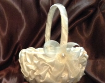 Ivory or white custom made flower girl basket