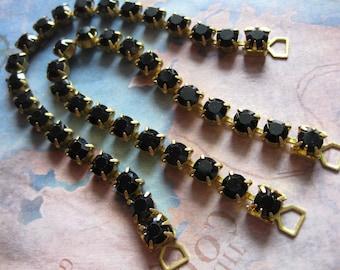 1 PC Vintage Swarovski Chain Bracelet - 5mm Jet Stones