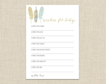 Wishes for Baby shower game. Instant download. Tribal baby shower game