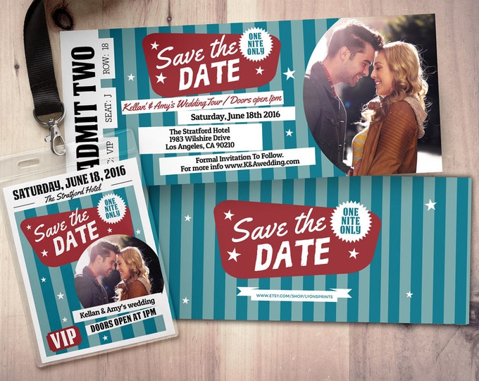 Rock Star save the date, wedding Invite/Bridal Shower INVITATION, ticket bridal shower invitation, rockstar shower, wedding invitation