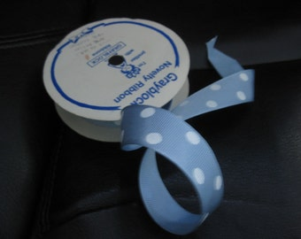 Vintage Ribbon, Blue With White Polka Dots, Grosgrain, 8 Yards of Ribbon on Original Roll