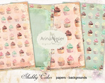 Shabby Cupcakes Digital Papers - Backgrounds - digital collage sheet - set of 4 - Printable Download