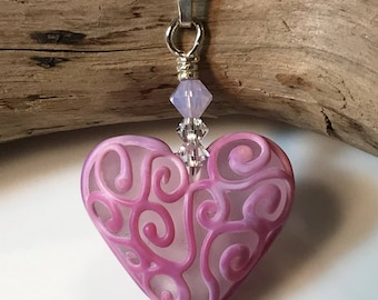 Pink Heart Necklace with crystals