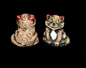 Ceramic Smiling Brown Cat Bead