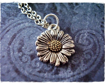 Silver Daisy Necklace - Two Tone Daisy Charm on a Delicate Silver Plated Cable Chain or Charm Only