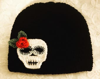 Day of the Dead/ Sugar Skull Hat/ Ponytail Hat