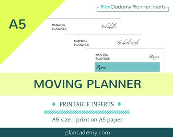 MOVING PLANNER  | printable | Filofax insert | discbound |  A5 size | instant download