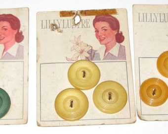 3 Cards of Vintage  Lillylustre Buttons
