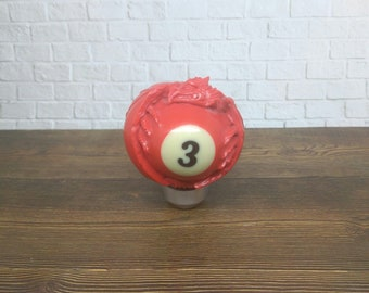 DRAGON  gear shift knob handle transmission from billiard ball number 3 hand carved