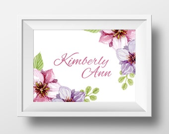 Personalized Printable Wall Art Print - Any Size - Water Color - Name - Floral - Digital Art Print