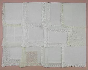Vintage Hanky Lot,Wedding Hanky Lot,One Dozen White Wedding Vintage Hankies Handkerchiefs  (Lot #81)