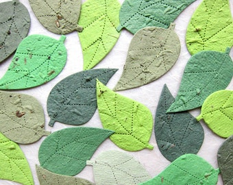 100 Flower Seed Paper Leaves Wedding Favor with Plantable Pots Option