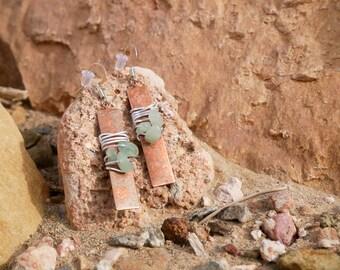 Wire Wrapped Copper Bar Earrings