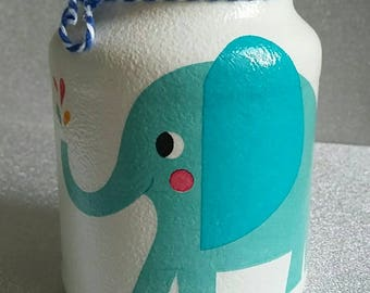 Handpainted/Decorated/Upcycled Blue Elephant Design Storage Jar/Vase Home Decor/Gift for Living/Bedroom/Nursery