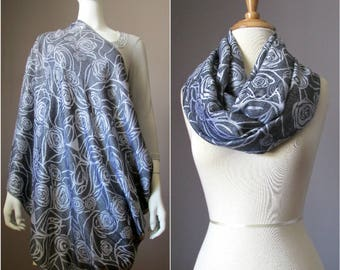 Nursing Cover Scarf , Gray Infinity Scarf with floral pattern , Nursing Scarf, breastfeeding cover, nursing cover, Baby Shower Gift