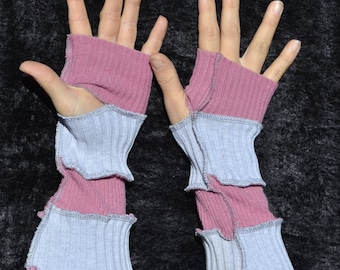 pink and gray striped arm warmers