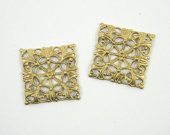 6 pcs., Raw Brass Filigree, Square Filigree, Brass Filigree, Cabochon Wrap, Brass Connector, 20mm - (r112)