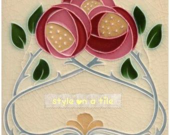 Art Nouveau Rennie Mackintosh Pink Red Rose Flower design square placemat table mat server
