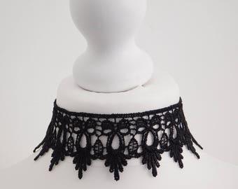 Plain Guipure Black Lace Choker Necklace Victorian Burlesque Gothic