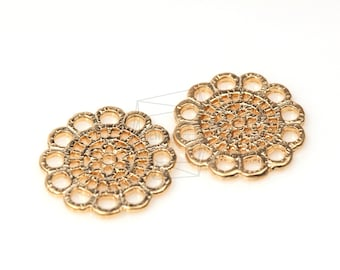 PDT-278-MG/5Pcs-Round Gothic Texture Pendant/ 23mm x 23mm /Matte Gold Plated over Pewter
