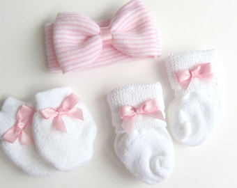 matching socks and mittens, newborn Headband Bow baby headband Shabby Chic headband cute headband Newborn headband Newborn Photo shoot Prop