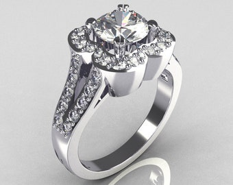 2011 Classic Trend 14K White Gold 1.0 Carat CZ Diamond Celebrity Fashion Engagement Ring R104-14KWGDCZ