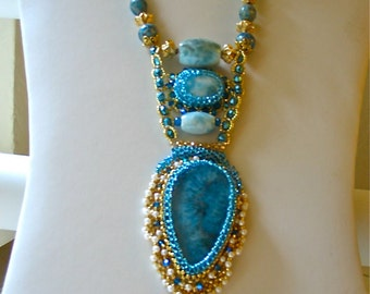 Prize Winning Handcrafted, Larimar, Amazonite Pendant Necklace with Beaded Blue Agate, Topaz, Cloisanne Beads, Fresh Water Pearls