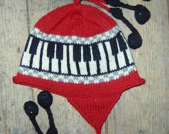 Red Adult Piano Earflap Hat, Medium