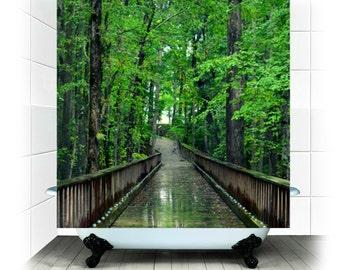 Stoff Dusche Vorhang - Solitude - Fotografie, Bad, Haus, Dekor, Wald, grün, Pfad, Regen, RDelean