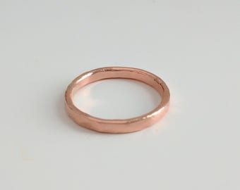 Hammered Finish Copper Band Ring, Copper Wedding Band Style Ring, Men's Copper Band Ring, Women's Copper Band Ring, Copper Band Ring,