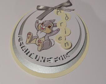"""Set of 10 invitations round """"once upon a time"""" Thumper / bambie. Customizable"""