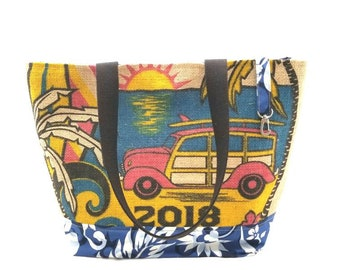 MTO - Large Tote - Kauai Coffee Recycled Tote Bag - Woody -Surfboard