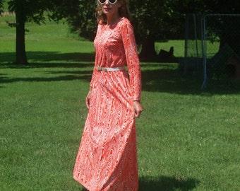 Vintage Orange Wood Grain Maxi Dress Long Festival Dress Boho Bohemian Hippie Dress Long Sleeves