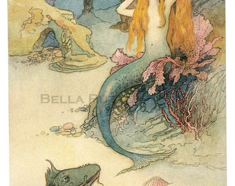 Hand-cut wooden jigsaw puzzle. MERMAID BRUSHING HAIR. Warwick Goble. Fairytale gift. Wood, collectible. Bella Puzzles.