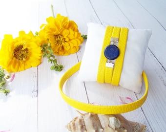 Leather bracelet and choker Set yellow bracelet