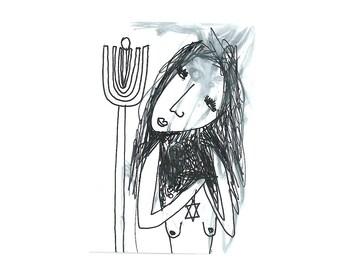 Aceo original, Jewish art card, original ink drawing, weird gift, Bizarre atc decor, small painting, Whimsical ACEO card, original art card