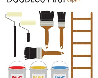 Painting Tools Clip Art for Scrapbooking Card Making Cupcake Toppers Paper Crafts
