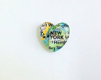 NEW Vintage Map Magnet - Heart Shape - New York